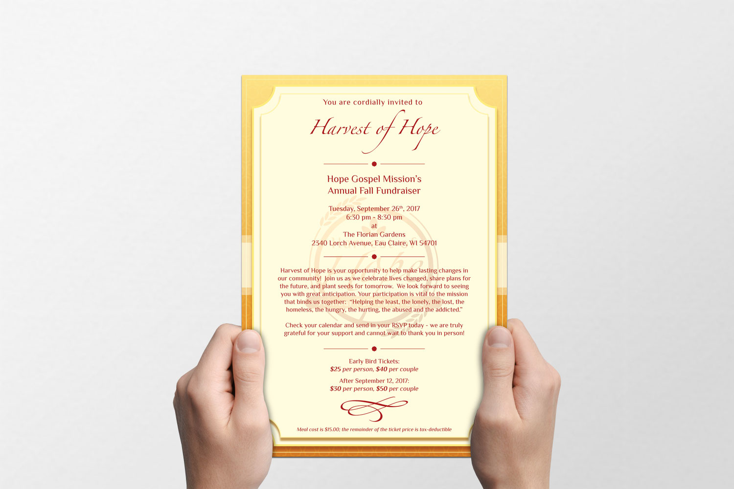 Harvest of Hope Invite